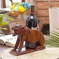 Wood bottle holder, 'Sumatran Tiger' - Balinese Hand Carved Sumatran Tiger Wood Wine Bottle Holder