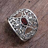 Garnet band ring, 'Garden of Passion' - Fair Trade 925 Silver Jewelry Heart Band Ring with Garnet
