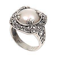 Cultured mabe pearl cocktail ring, 'White Lunar' - Mabe Pearl and Sterling Silver Floral Motif Cocktail Ring