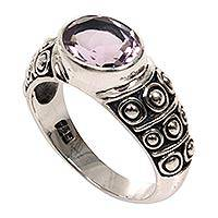 Amethyst band ring, 'Sukawati Tradition' - Balinese Handcrafted Amethyst Silver Band Ring