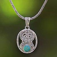 Turquoise pendant necklace, 'Misty Heart of Blue' - Natural Turquoise Necklace Handcrafted in Sterling Silver