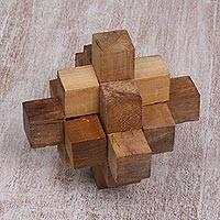 Teakwood puzzle, 'Challenge' - Hand Crafted Recycled Teakwood Puzzle from Java