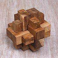 Teakwood puzzle, 'Don't Forget' - Javanese Artisan Crafted Recycled Teakwood Puzzle