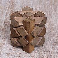 Teakwood puzzle, 'Bizarre' - Artisan Crafted Recycled Teakwood Puzzle from Bali