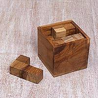 Teakwood puzzle, 'Magic Box' - Artisan Crafted Upcycled Teakwood Puzzle from Java