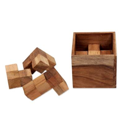 Artisan Crafted Upcycled Teakwood Puzzle from Java
