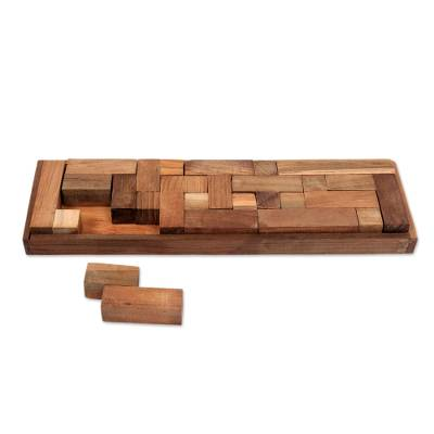 Teakwood puzzle, 'Tray of Fun' - Hand Crafted Recycled Teakwood Puzzle from Java