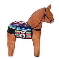 Mahogany wood statuette, 'Jaran Teji' - Artisan Crafted Mahogany Wood Horse Statuette from Java