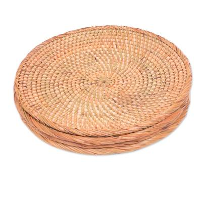 Set of 4 Handwoven Natural Fiber Serving Plates from Bali