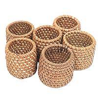 Ate grass napkin rings, 'Rustic Lombok' (set of 6) - Hand Made Ate Grass Napkin Rings (Set of 6) from Indonesia