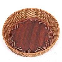 Mahogany wood and natural fiber decorative tray, 'Lombok Sunshine' - Handcrafted Wood and Bamboo Tray by Indonesian Artisan