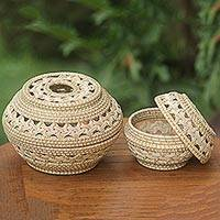 Ate grass baskets, 'Sembalun Harmony' (pair) - Pair of Hand Woven Baskets from West Africa