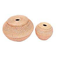 Natural fiber baskets, 'Sangayu' (pair) - Natural Fiber Hand Woven Lidded Basket Pair from Indonesia