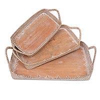 Mahogany and natural fiber trays,