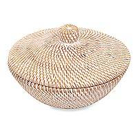 Natural fiber basket and lid, 'Beautiful Rinjani' - Lombok Island Handwoven Natural Fiber Basket and Lid