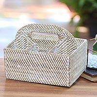 Natural fiber caddie basket, 'Lombok Picnic' - Handwoven Natural Fiber Caddie Basket from Bali