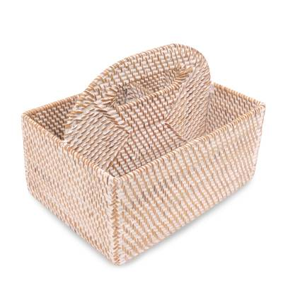Handwoven Natural Fiber Caddie Basket from Bali