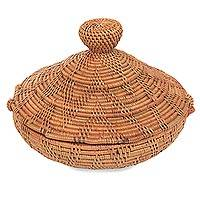 Natural fiber box, 'Rinjani Treasure' - Lombok Decorative Box Hand Woven with Natural Fibers