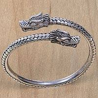 Sterling silver bangle bracelet, 'Dragon Guardians' - Handcrafted Sterling Silver Balinese Dragon Bangle Bracelet