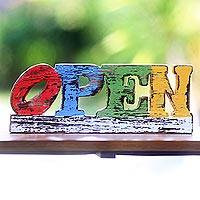 Wood sculpture, 'Open' - Robert Indiana Inspired Open Sculpture with Rustic Finish