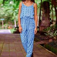 Rayon jumpsuit, 'Cerulean Borneo Batik' - Women's Rayon Batik Jumpsuit in Shades of Blue