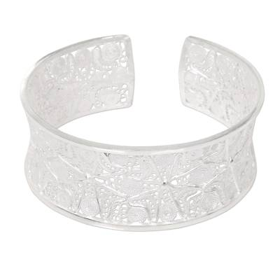 Handcrafted Sterling Silver Wide Filigree Cuff Bracelet