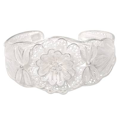 Floral Filigree Handcrafted Silver Cuff Bracelet from Bali