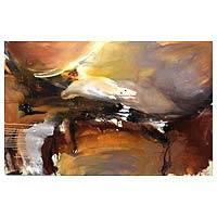 'Storm' - Signed Original Abstract Painting in Earth Tones