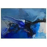 'Smog' - 59-Inch Signed Original Javanese Abstract Painting in Blues