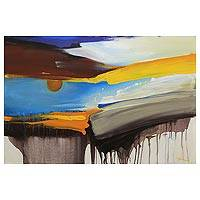 'Greetings from the Sun' - Indonesian Signed Abstract Expressionist Sunrise Painting