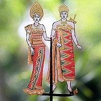 Leather shadow puppet, 'Indonesia Wedding' - Wedding Couple Multicolored Leather Shadow Puppet from Bali