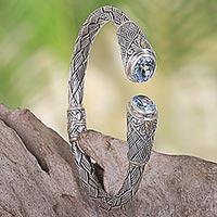 Gold accent blue topaz cuff bracelet,
