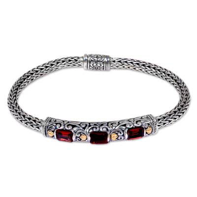 Gold accent garnet braided bracelet, 'Bedugul Temple' - Handcrafted Bali Gold Accent Silver and Garnet Bracelet