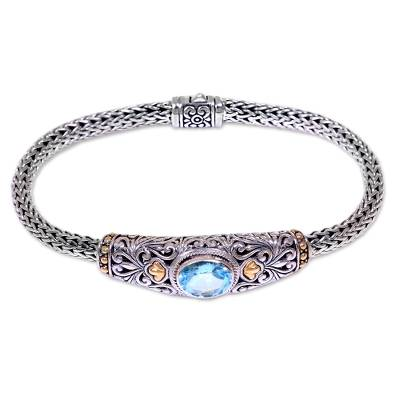 Handcrafted Balinese Gold Accent Blue Topaz Silver Bracelet