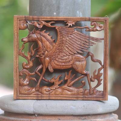 Wood wall panel, 'Pegasus' - Square Wood Wall Panel with Pegasus Design for the Home