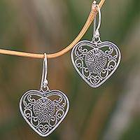 Sterling silver dangle earrings, 'Center of My Heart' - Artisan Crafted Balinese Sterling Silver Heart Earrings