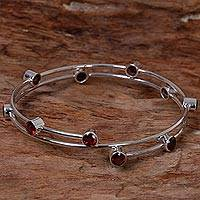 Garnet bangle bracelet, 'Orchid Twist in Red' - Hand Made Sterling Silver Garnet Bracelet Indonesia