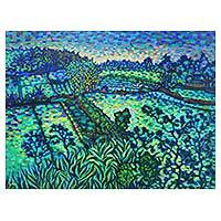 'Landscape at Tebongkang' - Signed Original Pointillist Painting of Balinese Rice Fields