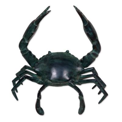 Bronze sculpture, 'Sanur Crab' - Realistic Handcrafted Antiqued Bronze Crab Sculpture