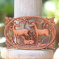 Wood wall relief panel, 'Deer Family' - Hand-Crafted Wood Wall Panel with Deer and Floral Motif
