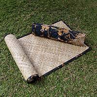 Natural fiber yoga mat with batik bag, 'Bromo Midnight ' - Hand Crafted Woven Leaf Yoga Mat and Cotton Carry Case