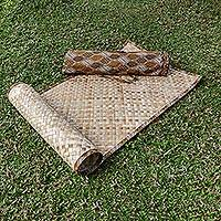 Natural fiber yoga mat with batik bag, 'Jawadwipa II' - Natural Pandan Leaf Yoga Mat with Handmade Batik Bag