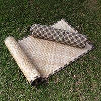 Natural fiber yoga mat with batik bag, 'Melati' - Yoga Set with Natural Fiber Mat and Batik Bag