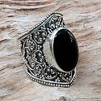 Onyx ring, 'Moonlight in Black' - Hand Made Sterling Silver and Onyx Ring from Indonesia