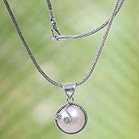 Cultured mabe pearl pendant necklace, 'Silver Full Moon' - Bali Sterling Silver Cultured Mabe Pearl Pendant Necklace