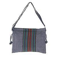 Cotton sling bag, 'Parangtritis Twilight' - Handmade Multicolor Cotton Sling Bag with Zip Closure