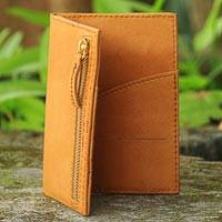 Leather passport wallet, 'Batavia Ginger' - Hand Crafted Leather Passport Wallet in Ginger Color