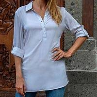 Long rayon tunic, 'New Blue Tiara' - Sheer Blue Rayon Balinese Collar Blouse Pullover from Bali