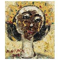 'Princess with a Gold Crown' - Expressionist Portrait in Oils of a Javanese Woman