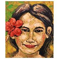 'Red Petal Hibiscus Flower' - Original Oil on Canvas Woman's Portrait